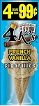 4 kings Cigarillos French Vanilla Pouch 4 for 0.99