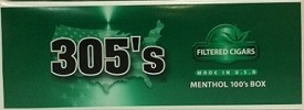 305's Menthol Box 100 Filter Cigars