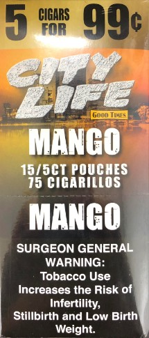 City Life Cigarillos Mango Pouch 5 /99c
